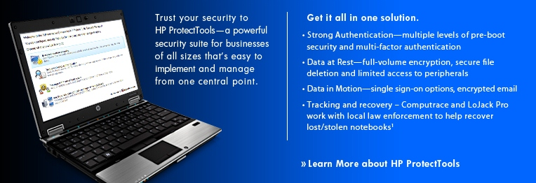Trust your security to HP ProtectTools.